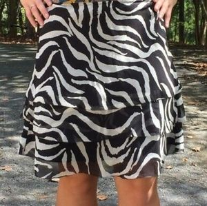 White House Black Market zebra print silk skirt